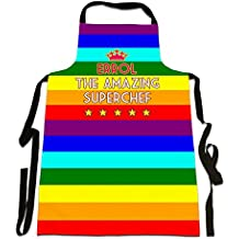Errol, 'The Amazing Superchef', Personalised Name, Rainbow Flag With Crown Design, Great Quality Canvas Apron, Size 25in x 35in approximately