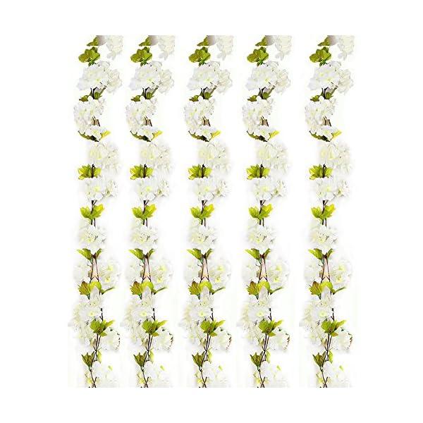 Turelifes 1 paquete de 7,22 pies / pieza de cerezos artificiales Vines colgantes flor spray arreglos de guirnalda de…