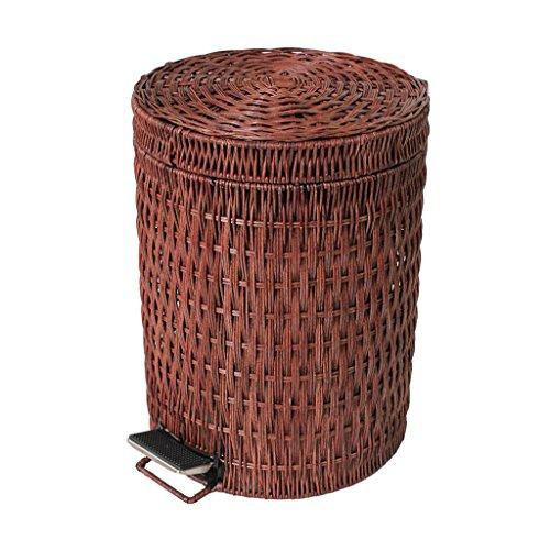AILI Moderner runder Grasrattabadezimmerfuß-Abfalleimer, großer bedeckter Wohnzimmerbörtelkorb Brown (Größe : 3l)