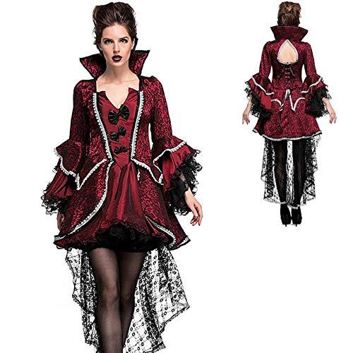 Kostüm Vampir Queen Gothic - FHSIANN Erwachsene Frauen Halloween Vampire Queen Kostüm Spitzenkleid Gothic Phantasie Gericht GräfinKragen Vintage Outfit Plus Größe Für Damen