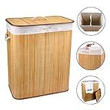 Vesgantti 100L Large Bamboo FoldableLaundry Basket -- Clothes Sorter Hamper Storage Bin with Lid Liner, 2 section for Lights & Darks, 53*31*63cm
