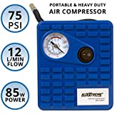 AllExtreme AE-Q8001 Heavy Duty Portable Auto Air Compressor Pump Electric Tire Inflator with Dial Gauge, Cigarette Lighter Plug and 3 High Air Flow Nozzle Adaptors for Cars, Bicycles and Basketballs (85W, 75 PSI, 12V DC)