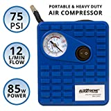#1: AllExtreme AE-Q8001 Heavy Duty Portable Auto Air Compressor Pump Electric Tire Inflator with Dial Gauge, Cigarette Lighter Plug and 3 High Air Flow Nozzle Adaptors for Cars, Bicycles and Basketballs (85W, 75 PSI, 12V DC)