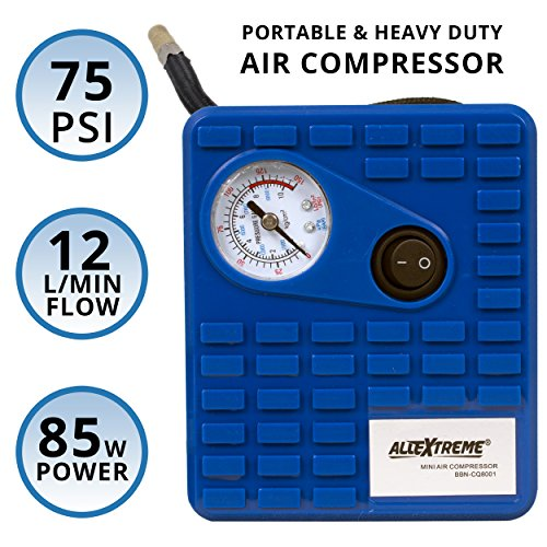 AllExtreme AE-Q8001 Heavy Duty Portable Auto Air Compressor Pump Electric Tire Inflator with Dial Gauge, Cigarette Lighter Plug and 3 High Air Flow Nozzle Adaptors for Cars, Bicycles and Basketballs (85W, 75 PSI, 12V DC)  available at amazon for Rs.999