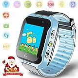 Niños Smartwatches GPS Tracker Mirar - Niño Niña telefono Reloj SOS Ayuda Cámara Reloj Despertador Podómetro para niños Regalos Control por Padres Compatible con iPhone/Android Smartphone (Azul)