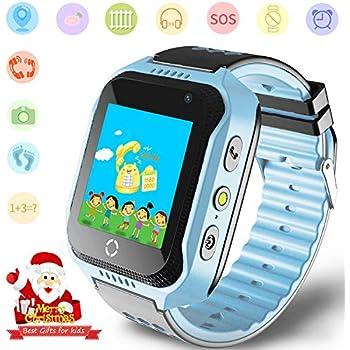 Niños Smartwatches GPS Tracker Mirar- Niño Niña telefono Reloj SOS Ayuda Cámara Reloj Despertador Podómetro para niños Regalos Control por Padres Compatible ...