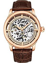 Stuhrling Original Men's Automatic Watch, Skeleton Dial with Leather Band, 3933 Series (Rose Gold)