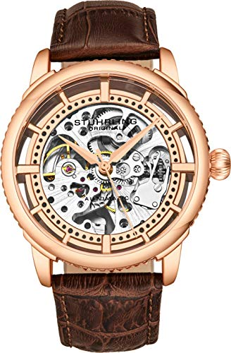 Stuhrling Original Herrenuhr, Skeleton Zifferblatt mit Lederband, Serie 3933 (Rose Gold)