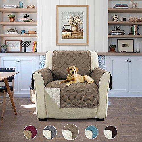 H.Versailtex Luxus Gesteppter Sofa Schutz Abdeckung Wasserresistenter Möbelschutz Überwurf, Strapazierfähig & Schmutzresistent – 190cm x 53cm Taupe