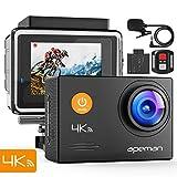 APEMAN 4K Action Cam 16MP WiFi Ultra HD con Microfono Esterno Fotocamera Subacquea 40M EIS Stabilizzazione 170° Grandang