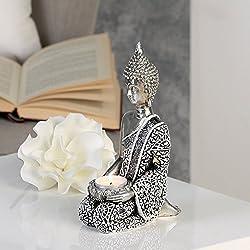 Escultura de Buda de la lámpara, de antigüedades de-Plata, H22 cm