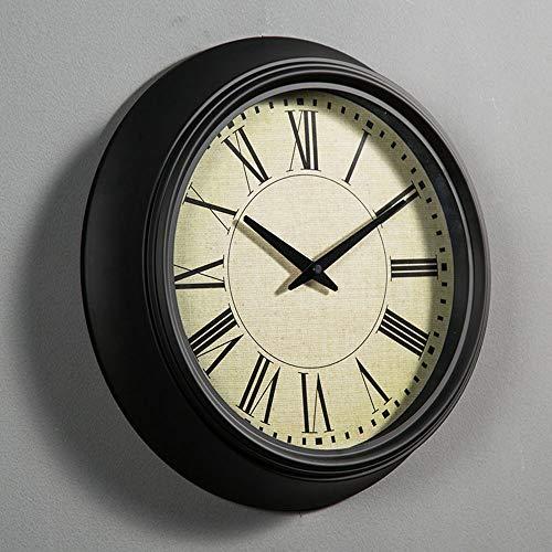 Chenteshangmao Retro Europäische Unbedeutende Schwarze Wohnzimmer-Uhr, Gewöhnlicher Glasspiegel, Metalloberteil, Stumme Bewegung, Römische Digitalanzeige.Durchmesser 36 cm. Trendy Fashion Wanduhr