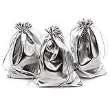 SODIAL Packung Mit 100 5 Zoll x 7 Zoll Schwerlast Kordelzug Organza Schmuckbeutel Hochzeit Party Weihnachten Favor Geschenk Schokolade Taschen (5 Zoll x 7 Zoll, Silber)