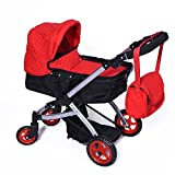 Modern Bassinet Doll Stroller Superior Quality Red Quilted - Best Reviews Guide