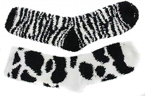 Beverly Hills Polo Club da donna Cozy Burro 2paia di calze Slipper Black Cow Zebra Print Taglia unica