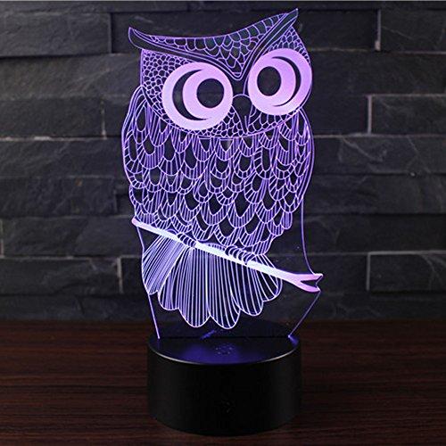 3D Optische Illusions-Lampen NHsunray LED 7 Farben Touch-Schalter Ändern Nachtlicht Für Schlafzimmer Home Decoration Hochzeit Geburtstag Weihnachten Valentine Geschenk Romantische Atmosphäre (Eule)