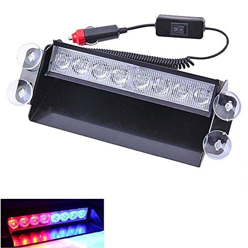 Voiture/camion Dash Flash stroboscopique d'urgence avertissement de police Rouge/bleu clair 8 LED Rouge/bleu de voiture de police Strobe Flash Light Dash d'urgence 3 modes de clignotant