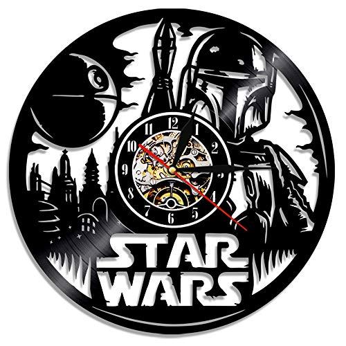 OLDFAI Reloj De Pared De Vinilo Vintage, con Patrón Star Wars Diseño 3D Decoración Familiar Salón...