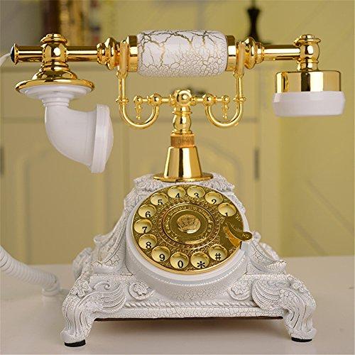 télefono retro Teléfono antiguo europeo Teléfono retro de la placa giratoria Teléfono fijo de la oficina en el hogar sin baterías Uso directo de la corriente en el trabajo de la línea telefónica