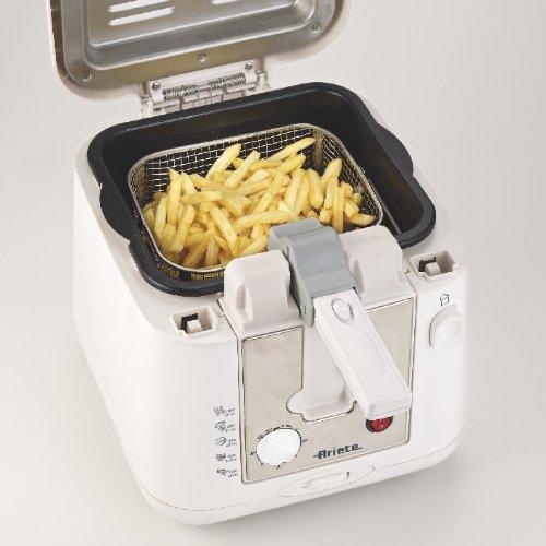 # Ariete 4612 Easy Fry Metal – Friggitrice a olio, Spia temperatura, Timer, Capacità 2,5-2,9 Lt, 800 gr di fritto, 2000 W, Facile da pulire, Bianco/Argento prezzo