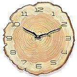 HyFanStr Silencieuse Horloge Murale Vintage Pendule Murale Bois, Pendule Cuisine Murale, Retro Horloge Vintage pour la Maison Salon Kuisine 38x40cm