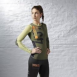 Reebok SPTN W LS CMP - T-shirt pour Femme, Couleur Vert, Taille 2XS