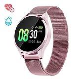 GOKOO Montre Connectée Femmes Smartwatch Sport Étanche IP67 Montre Intelligente Femme Bracelet Connecté Multifonction Cardiofréquencemètre Oxymètre Podomètre Compatible avec iOS Android