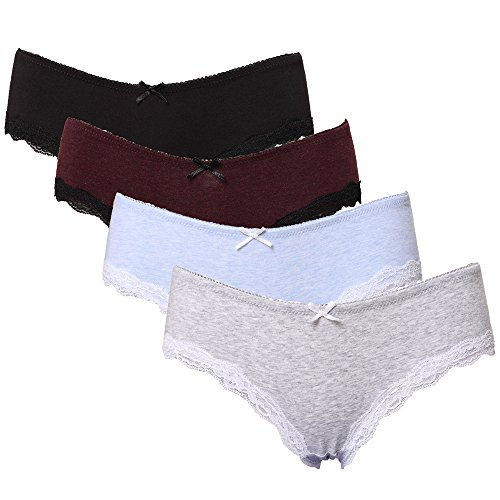 CharmLeaks Women Cotton Underwear Briefs Comfortable Knickers Assorted Lace Trim Panties