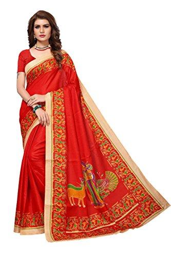 Nirja Creation Multi Color Fancy Party wear Bhagalpuri Khadi Silk Saree (6...