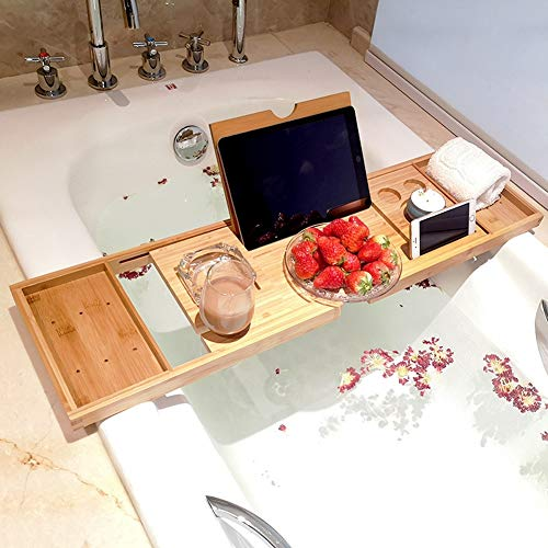 Badetablett Premium 100% Naturbambus Bad Caddy Bridge Ausziehbare Buchablage, Weinglashalter, Tablet-Gerät, Kindle, iPad, Smartphone-Tablett für EIN Spa-Erlebnis zu Hause für die meisten Badegrö (Wanne über Bath Caddy Die)
