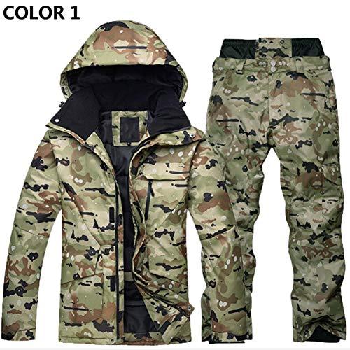 Conjunto de traje de esquí Ropa de invierno para hombres y mujeres al aire libre Impermeable espesado unisex Conjunto de chaqueta y pantalones - Ideal para la caza, pesca, tiro, esquí, snowboard