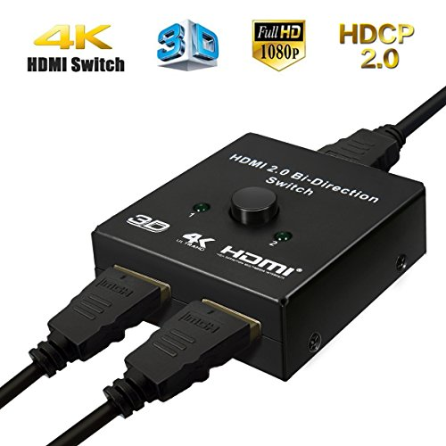 MWay 4K HDMI Switcher 2 Ports Splitter In 1 Out Auto Switch Box Bi Directional Support Ultra HD 3D 1080P For DVD TVs