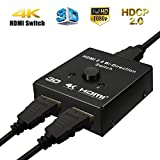 Switch HDMI 2.0 Bidirezionale, M.Way 2 Ingressi 1 Uscita HDMI bidirezionale Interruttore, Supporta 3D 1080P 4K o Commutatore HDMI 1 Ingresso 2 Uscite Per HDTV / Blu-Ray player / DVD / DVR / Xbox / PS4 immagine