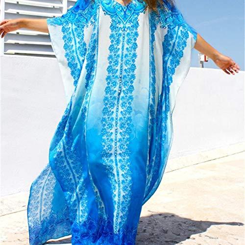 WZYSTJ V-Ausschnitt Lange Baumwolle Strand Vertuschen Beach Wear Plus Größe Bikini Vertuschen Robe Sarong Beach Tunika - Baumwolle Plus Größe Vertuschen