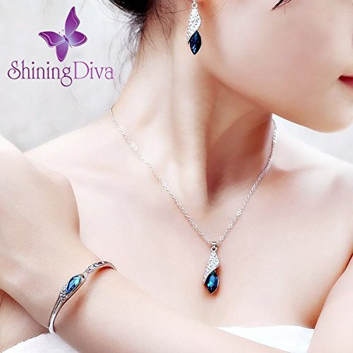 Valentine Gift By Shining Diva Blue Crystal Combo Of Jewellery Set / Chain Pendant With Earrings & Bracelet For Girls And Women