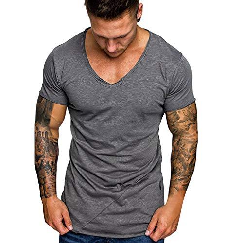 8791440ab Camisetas Hombre Manga Corta Personalidad Casual Deporte Camisas Moda Slim  Remera Casual Guapo con Cuello en