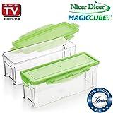 Genius Nicer Dicer Magic Cube | Auffangbehälter inkl. Frischhaltedeckel | 2 Teile | Klar/Grün