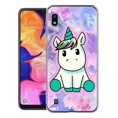 ZhuoFan Funda Samsung Galaxy A10, Cárcasa Silicona Transparente con Dibujos Diseño Suave TPU Antigolpes de Protector Piel Case Cover Bumper Fundas para Movil SamsungA10 2019, Pretty Unicornio