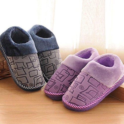 YMFIE Femmes Hommes hiver chaud accueil chaussures chaussons coton épaississement C