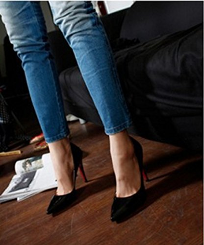 Wealsex Escarpins Vernis Noir Talon Aiguille Bout Pointu PU Cuir Talons 10 CM Grande Taille 34 35 36 37 38 39 40 Noir Blanc Bleu Or Femme Noir