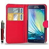 Samsung Galaxy A3 (Not For 2016) - pochette de cuir Etui portefeuille pochette couvercle escamotable + tactile Stylet + écran protecteur & chiffon de polissage ( rouge )