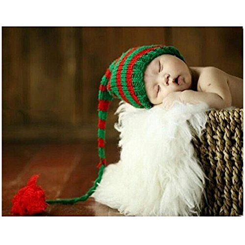 neonato fotografia puntelli Boy Girl crochet costume Outfits Christmas Long Tail Hat