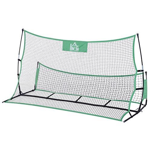 Homcom rete rimbalzatore per allenamento calcio struttura in acciaio, nero verde, 214 x 100 x 118 cm