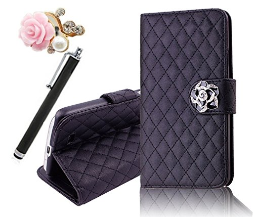 Vandot 3In1 Set 3D Lusso Accessori Flip Folio Pelle PU Book Wallet Cuoio Custodia Case Cover Indietro Shell Skin Per Caso Astuto Telefono Sony Xperia Z1 Smartphone (12,7 cm (5 Zoll) L39h Bella Premium Quality Borsa Bag Copertura Rhinestone Bling Shinning Crystal Strass Sacchetto Caso Dell'unitÀ Di Elaborazione Smartphone Scintillio Falso Artificial Leather Diamante Protection Protector Protettiva Magnetico Closure Chiusura Cristallo Diamand Cassa Mobile Signora Fashion Glittering Modern Girl Stile Style Design+1x Metallo Tocco Penna Stylus Touch Screen Capacitivo Stilo+1x 3,5 mm Anti Spina Polvere Anti Dust Plug Anti-Dust Strass Tappi Polvere Earphone Jack Headphones Headset - Chiaro Multi-Function Lattice Grid Quilted padding Fiore Credit Card Slots Supporto Basamento Stand Holder Ciondolo Per Cellulare Portafoglio Cuoio Donna Handmade Fatto a Fano- Colorful (Nero)