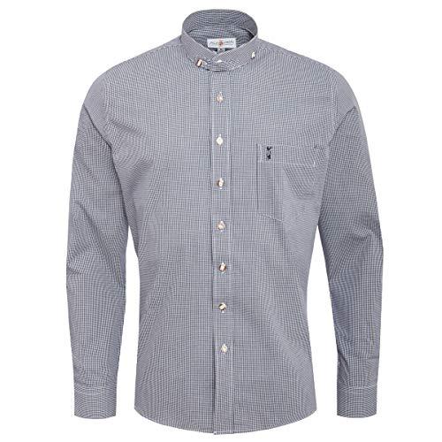 Almsach Herren Stehkragen-Trachtenhemd Slim-Fit Slim-Line Trachten-Mode traditionell-kariert s-XXL in vielen Farben, Größe:XL, Farbe:Schwarz