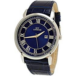 NY London Designer Slim Date Mens Leather Strap Watch Mens Watch Blue Silver Super Flat + Watch Box