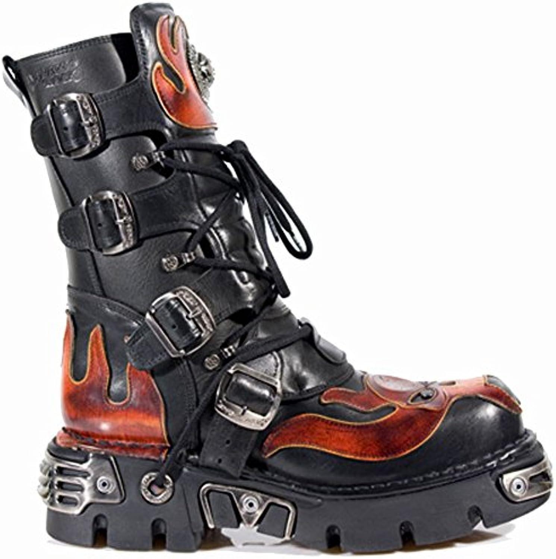 New Rock Boots @ Metal Schuhe @ Stiefel Rock @ Punk Goth @ Schwarz  Flammen (Black  Flame) (41)