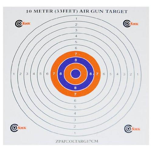 SMK Lot de 100 cibles de tir en papier de qualité pour pistolet à air comprimé 17 x 17 cm