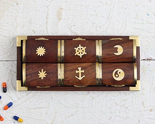 Set bestehend aus 6 Pillenboxen aus Holz, Eulen pillenbox aus Holz mit 6 Fächern. Medizinische Spender mit Tablett und Einlagen aus Rosenholz-Eule -