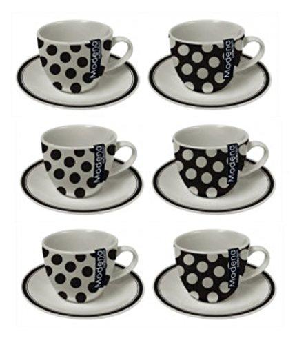 Modena Set von 6Schwarz & Weiß Polka Dot Mini Espresso Shot Tasse & Untertasse Set 90ml Coupe (Polka Schwarzen Tassen Und Dot Weißen)